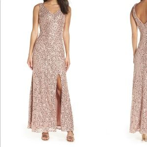 Morgan & Co Sequin and Lace Dress in Rose Gold